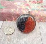 Red and Black Glitter Resin Pendant 32mm Round