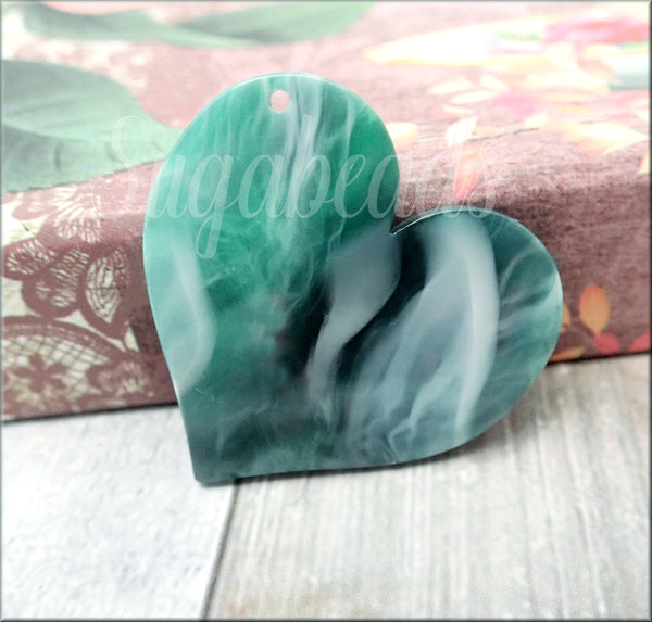 Emerald Green Heart, Zola Elements Heart Focal, Acetate Heart, 35mm Heart Pendant