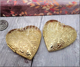 Bright Gold Heart Locket, Larger sized Locket, Embossed Floral Pendant