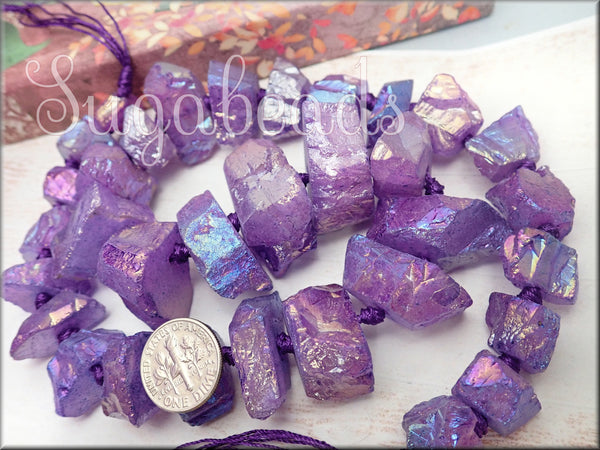 Purple Electroplated Crystal Quartz Rough Nugget Beads