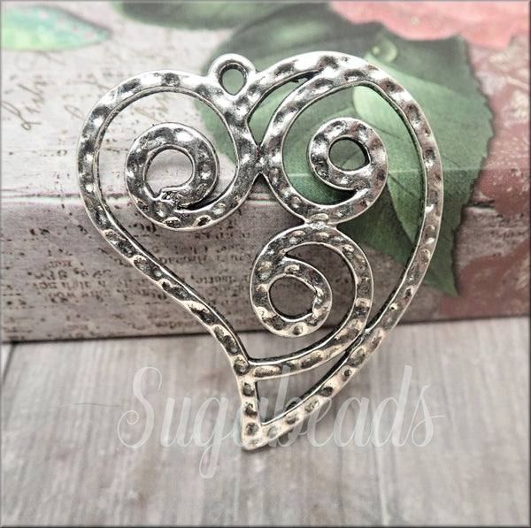 Antiqued Silver Hammered look Silver Heart Pendants