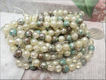 25 Mixed Druks with Silver Picasso, Cream, Brown, Sea Green Druks, Czech Glass Beads 6mm