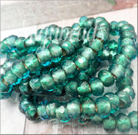 10 Czech Glass Green Roller Beads, Faceted Emerald Green Rondelles