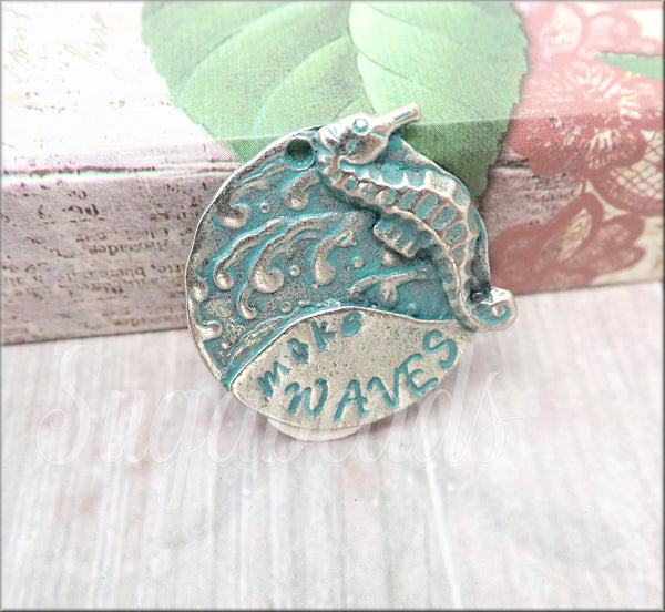 1 Pewter Verdigris Plated Make Waves Seahorse Pendant