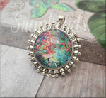 Colorful Modern Boho Floral Pendant, 1 inch Pendant, Glass Photo Pendant