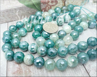 18 Faceted Green Agate Beads with Silver Luster, Agate gemstone Beads 10mm