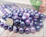 18 Faceted Purple Agate Beads with Silver Luster, Micro Faceted Agate gemstone Beads 10mm