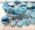 6 Larimar Blue Crazy Lace Agate Beads, 16mm Coin Gemstone Beads