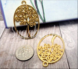 6 Oval Bright Gold Tree Pendants, Swirl Tree of Life Pendants, Spiral Yggdrasil