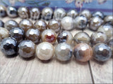 18 Faceted Brown Agate Beads with Silver Luster, Agate gemstone Beads 10mm