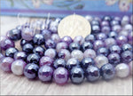 30 Purple Agate Beads with Silver Luster, Faceted Agate gemstone Beads 6mm