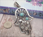 Antiqued Silver Hamsa Pendant with Faux Turquoise & Rhinestones