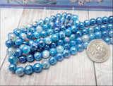 30 Blue Faceted Agate Beads with Silver Luster 6mm