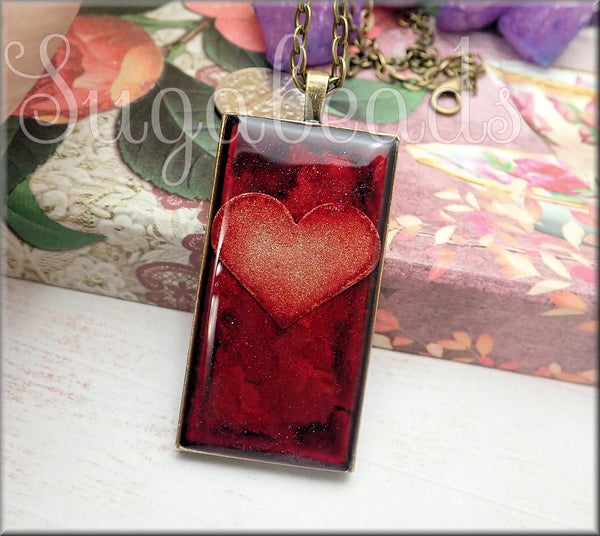 Red Abstract Art Rectangle Pendant with Heart Pendant