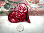 Large Weathered Crimson Red Heart Pendant, Altered Art Pendant