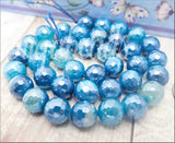18 Faceted Blue Agate Beads with Silver Luster SBGB24