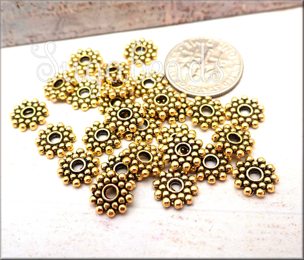 75 Bali Style Antiqued Gold Daisy Spacers