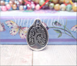 Antiqued Silver Oval Tree Charm, TierraCast Bird in a Tree Charm