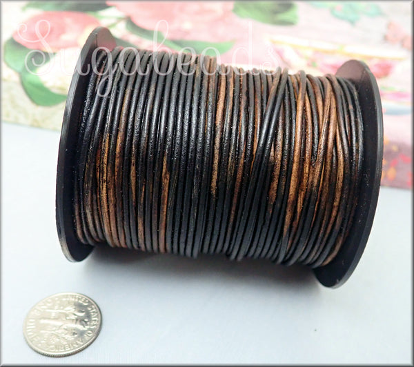 Gypsy Sippa Leather Cord, Brown/Black Leather Cord, Distressed Leather