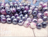 24 Faceted Purple Agate Beads with Silver Luster, Faceted Agate gemstone Beads 8mm