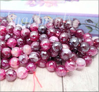 24 Ruby Red Faceted 8mm Agate Beads with Silver Luster