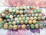 24 Green Mix Faceted 8mm Agate Beads with Silver Luster
