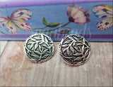 2 Antique Silver Bamboo Buttons, TierraCast Silver Button, leather closure, SB366