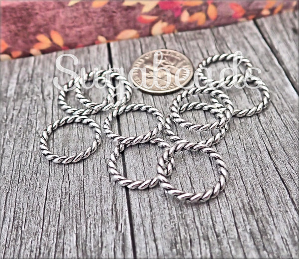 Large Closed Jump Rings, Antiqued Silver Twisted Jump Rings