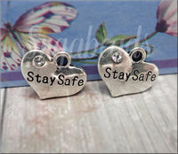 5 Antiqued Silver Stay Safe Heart Charms with Crystal - 16mm Stay Safe Charms
