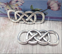 5 Antiqued Silver Double Infinity Connectors, Silver Infinity Charms, Infinity Pendants SB364