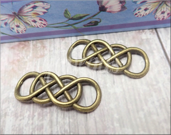 5 Antiqued Bronze Double Infinity Connectors, Infinity Charms, Brass Infinity Pendants SB368