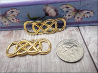 5 Bright Golden Double Infinity Connectors, Infinity Charms, Gold Tone Infinity Pendants SB369