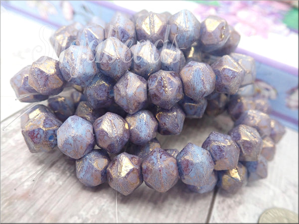 10 English Cut Czech Beads,  Purple Pansy Luster Beads 10mm Hexagon Beads, CZN