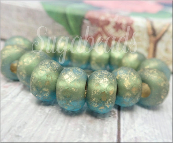 4 Green Blue Large Hole Roller Beads, Faceted Czech Glass Rondelles, 12mm Roller Beads