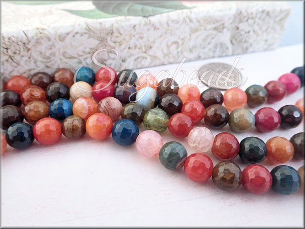 Mixed Faceted Agate Beads 8mm, Warm Agate Mix, Micro Faceted