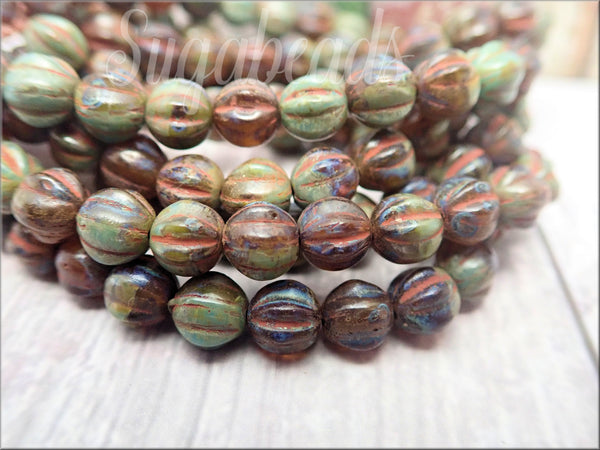 25 Czech Glass Melon Beads 6mm, Brown and Sage Melon Beads, CZN21