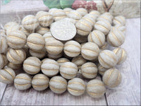 Weathered White Czech Glass Melon Beads 12mm, CZN36