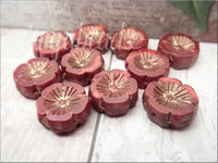 5 Red Hibiscus flower Beads, Czech Glass Flower Beads, Red with bronze Wash 14mm
