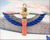 Hand Painted Lapis Blue, Coral & Gold Winged Egyptian Goddess Pendant 56mm