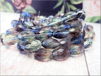 6 Blue and Purple Faceted Oval Czech beads, 12x8mm Fire Polished Oval Beads, CZN52