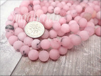 Matte Frosted Cherry Blossom Jasper Beads, 8mm