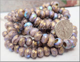 10 Czech Glass Beads, Purple Thistle Roller Beads, Gold Wash AB Rondelles