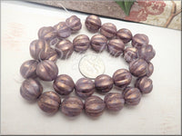 Purple Violet with Gold Luster Melon Beads 12mm