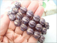 Purple Violet with Gold Luster Czech Glass Melon Beads 12mm