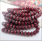 5x7mm Rondelle Ruby Red with Picasso Finish