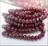 5x7mm Rondelle Ruby Red with Picasso Finish -20