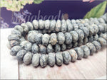 Silver Crazy Lace Agate 8mm, Faceted Matte Rondelle Gemstone Beads, 8 inch Strand