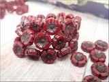 6 Deep Red Poppy Beads, Czech Glass Hawaiian Flower Beads, Red with black Wash, 12mm