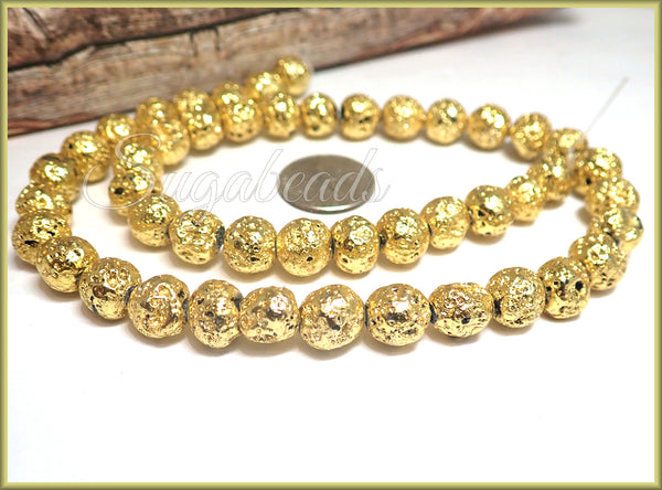Metallic Gold Lava Rock Beads 8mm