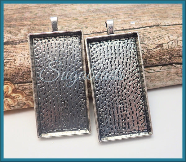 2 Rectangle Pendant Settings, 48mm x 24mm Antiqued Silver Cabochon Trays